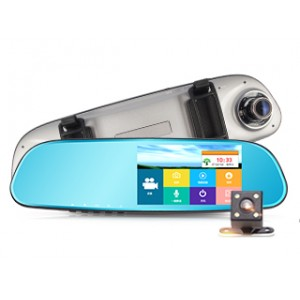 5寸輕薄2.5D觸摸屏鋅合金無邊款雙錄夜視高清行車記錄儀