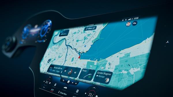 奔馳發布MBUX Hyperscreen交互系統:超大曲面屏貫穿整個中控臺