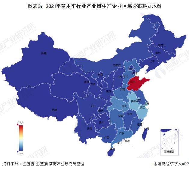 图表3:2021年商用车行业产业链生产企业区域分布热力地图